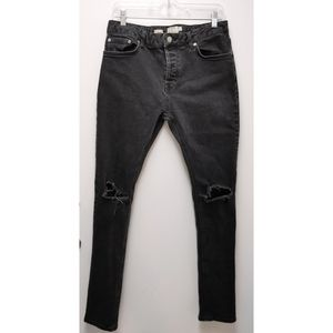 Topman Faded Black Distressed Skinny Stretch Jeans